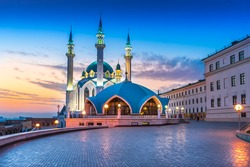 The Kul Sharif mosque in Kazan Kremlin at sunset. View from the Manezh building.