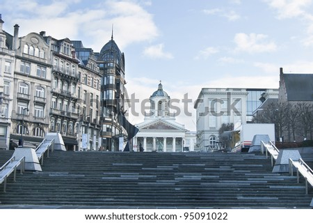 The Kunstberg or Mont des Arts, historical site of Brussels - stock photo