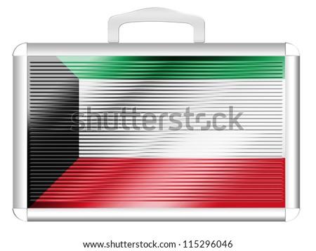 The Kuwaiti flag painted on metal aluminum case