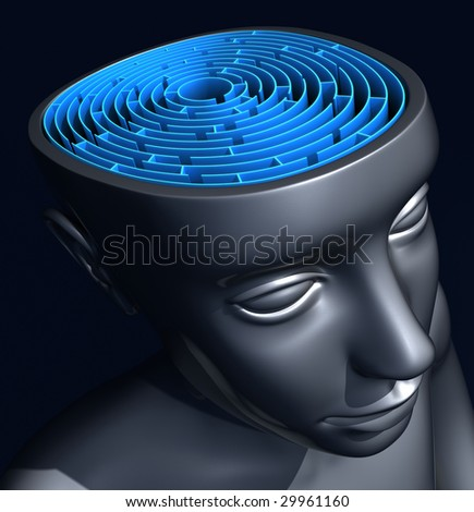 The labyrinth inside the head. Concept of confused mind.