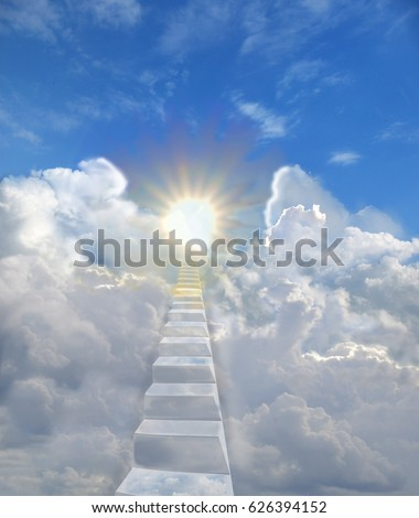 Stock Photo The ladder in the blue skies is among the clouds up to the warm, radiant sun. Concept of freedom of spirit, love, religious symbol of paradise