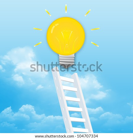 The Ladder Rising to The Light Bulb With Blue Sky Background - stock photo