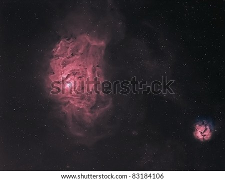The Lagoon and Trifid Nebulae in Hydrogen and Oxygen False Color