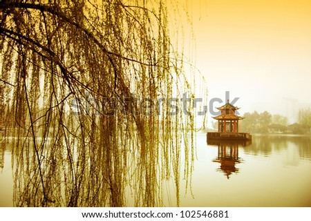 The lake and pavilions, the famous gardens of Suzhou.
