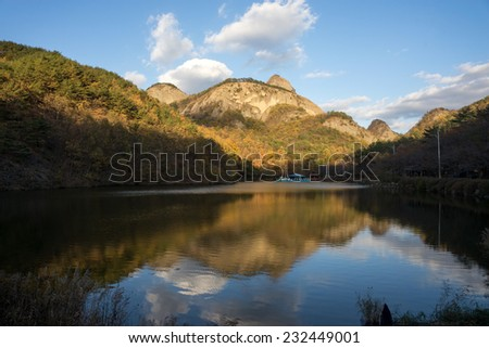 The Lake in Jinan, with the Maisan mountains in the background. The famous Tapsa Temple at the peak is a major tourist attraction in South Korea. #232449001