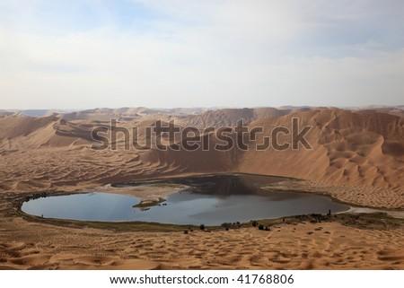 The lake inside the great gobi desert in Inner Mongolia of China