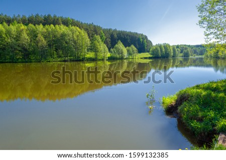 The lake is a large body of water surrounded by land. Walnut and pine trees grow along the edge, complete calm, beautiful hatching in the water