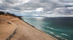 The Lake Michigan Overlook At Sleeping Bear Sand Dunes, (Don't run down this dune unless you are in good physical condition, The only way back is up), Michigan, USA