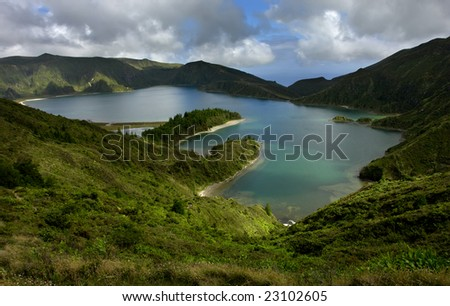the lake of fire in azores island of sao miguel