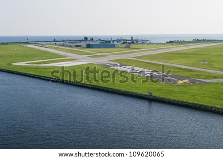 The landing strip by the harbour in Europe. - stock photo