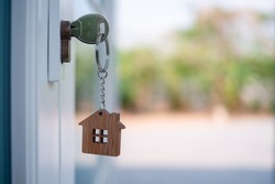 The landlord opened the door with a pending key. Home selling ideas, home mortgage