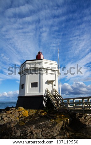 The landmark Lighthouse at Stirling Point, Bluff, South Island, New Zealand