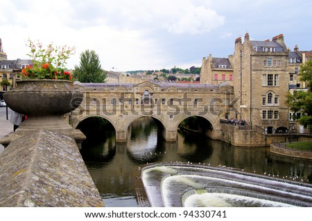 The landmark Pulteney Bridge in the English city of Bath