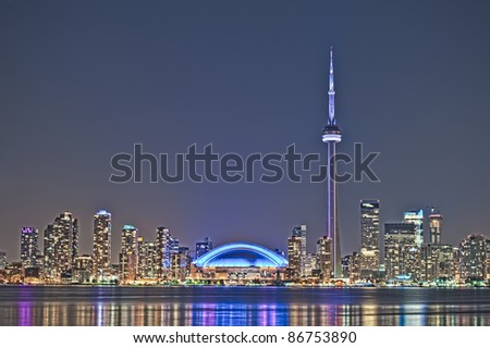The landmark Toronto downtown view from the center island.