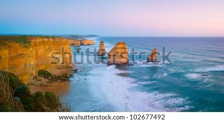 The landmark Twelve Apostles at sunset, along the famous Great Ocean Road in Victoria, Australia