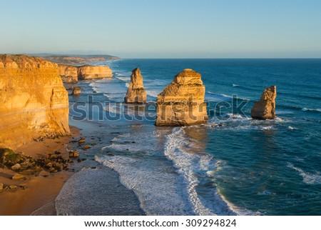 The landmark Twelve Apostles sea stacks at sunset, along the famous Great Ocean Road in Victoria, Australia