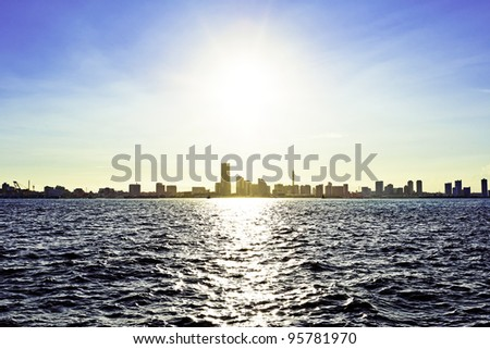 The landscape of harbor city in Yokohama, Japan