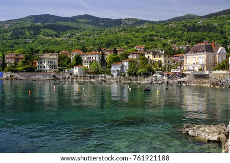 The landscape of the coastline built by the old historical town of Lovran, Lovran is situated on the western coast of the Kvarner Bay, Croatia