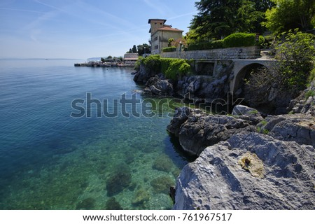 The landscape of the coastline of Lovran, Lovran is situated on the western coast of the Kvarner Bay, Croatia