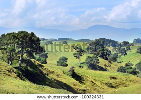 The landscape of the Hobbiton Movie Set and Farm, Matamata New Zealand. - stock photo