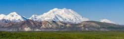 The landscape on the western portion of Denali National Park is extreme. From the point where this photograph was taken is about 30 miles from the Alaska Range. Even so Denali looks absolutely immense