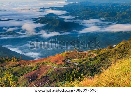 The landscape photo, beautiful sea fog in morning time at Phu Tub Berk Viewpoint, Phu Hin Rong Kla National Park in Thailand