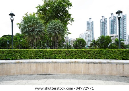 The landscape view of park with building background