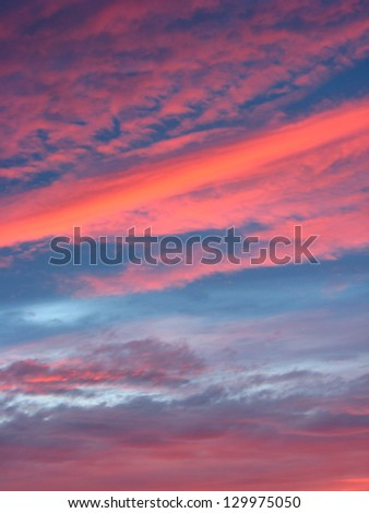 The landscape with beautiful picturesque clouds and sunset
