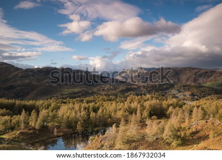 The Langdale from Holem Fell English Lake District Stock photo ©