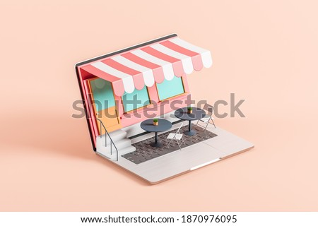 The laptop screen has turned into a cafe, restaurant or pastry shop. Awning over the front door. Online food store concept. Delivery. 3d rendering Photo stock ©