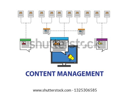 The laptop shows the content marketing concept on digital global #1325306585