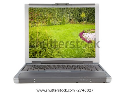 the laptop with nature background isolated with clipping path