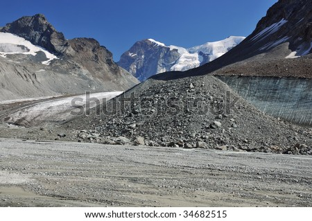 the large glacier on the left has recently retreated exposing a flat valley floor and ice cliff with glacial debris. Global warming is causing glaciers to melt and sea levels to rise