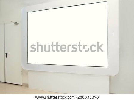 The large touchpad on the wall for display advertising