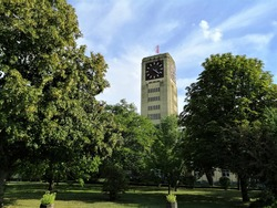 The largest clock tower in Europe, the former sewing machine factory Singer / Veritas in Wittenberge, Germany.