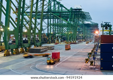 Port Singapore Pictures on The Largest Container Port Terminal   Singapore Stock Photo 94591924