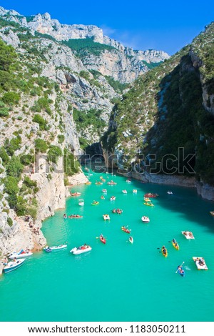 The largest European canyon called Verdon Gorges with boats on water (Europe-France-Provence)