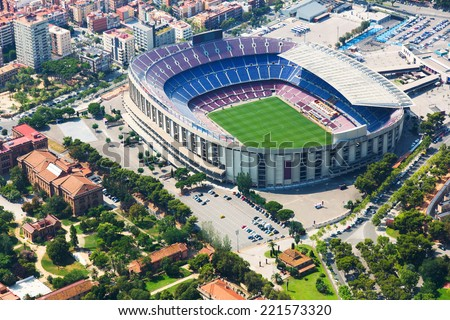 The largest stadium of Barcelona from helicopter.  Spain #221573320