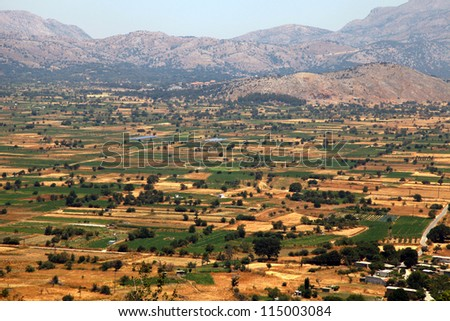 The Lassithi Plateau is a wide expanse of cultivated fields and orchards. Located in eastern Crete, Greece