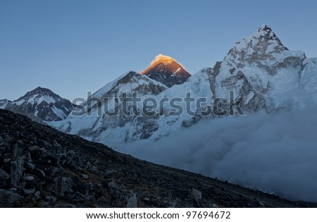 The last rays of the setting sun on the top of Everest - Nepal