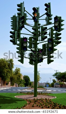 The last traffic light in Eilat, Israel - stock photo