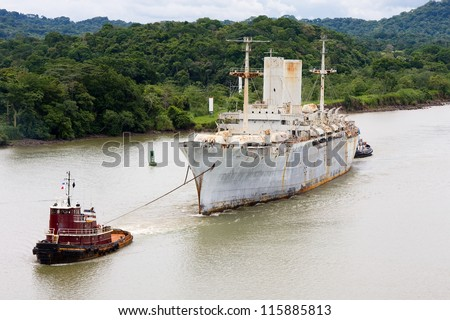 The last voyage of historic war ship USNS General John Pope from West Coast to Brownsville, Texas scrap yard. Picture taken in Panama Canal transit.
