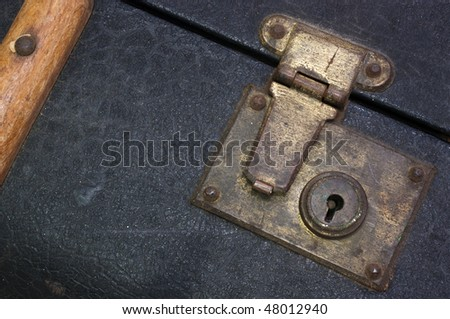 The latch of an old suitcase evoking thoughts of travels and adventure