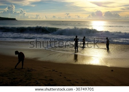 The latest beach in Bali to become popular. Dreamland beach (New Kuta beach), Bali, Indonesia at sunset.