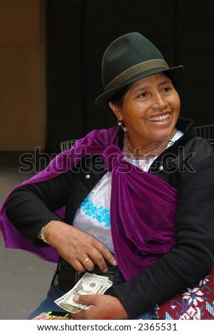 the latin woman in national clothes. ecuador. south america