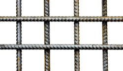 The lattice of reinforcing steel rods isolated on white background