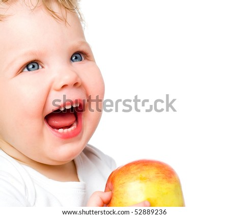 The laughing babe, with a red apples on a white background