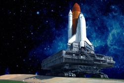 The launch pad of the spaceship, against the background of the beautiful star sky.  Elements of this image were furnished by NASA