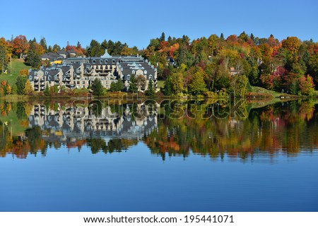 The Laurentian forest in the fall, Lake Rond, Sainte-Adele, Quebec, Canada