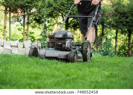 The lawn is mown with the lawn mower #748052458